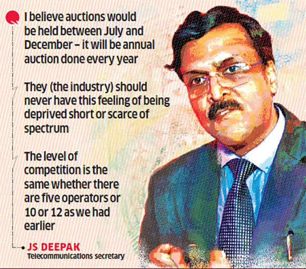 Spectrum to be auctioned every year, says telecom secretary Deepak