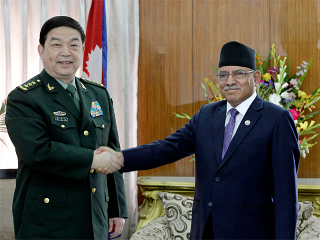Chinese Defence Minister meets Nepal PM Prachanda