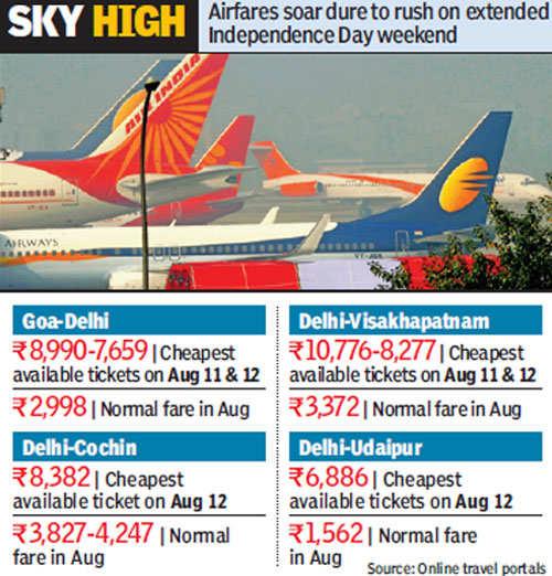 Airfares soar as Delhiites plan getaway