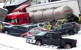 Cars pile up after crashing in Pennsylvania
