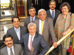 THE JURY STEPS UP: (L to R) Kumar Birla, KV Kamath, Jamie Dimon, Harish Manwani, Deepak Parekh, Anand Mahindra and Zia Mody
