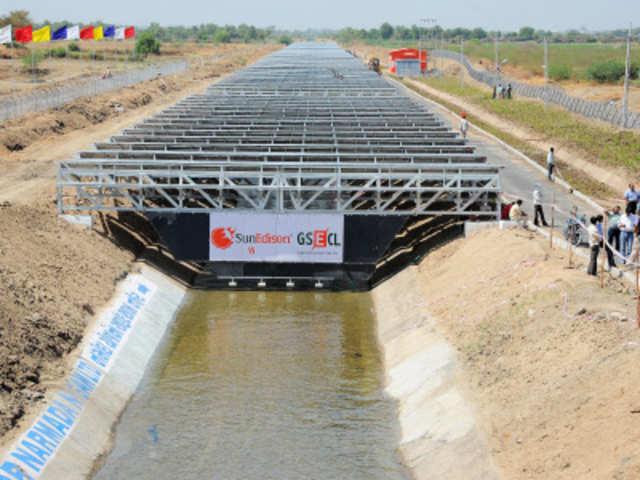 Solar Panels Atop Narmada River How Gujarat Canal Is