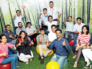 Googlers having a ball at the firm's Gurgaon office