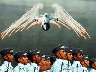 Indian Air Force personnel march past during the full dress rehearsal for Air Force Day parade at Air Force Station Hindon in Ghaziabad town on the outskirts of New Delhi on October 6, 2011.