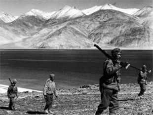 Indian jawans patrolling the Pangong shore in Ladakh