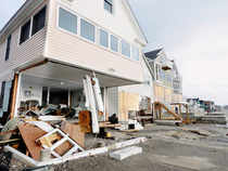 Wreckage lies outsice damaged beach front homes after superstorm Sandy in Milford, Conn. on Tuesday, Oct. 30, 2012. (AP)