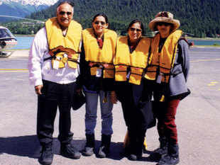 DK Jain with wife Usha and daughters Pooja and Priya in Alaska