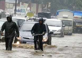Heavy rains filled up the roads in Mumbai.