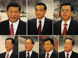 This combo photo shows the Communist Party of China's new Politburo Standing Committee, the nation's top decision-making body headed by (top L clockwise) Xi Jinping, Li Keqiang, Zhang Dejiang, Yu Zhengsheng, Liu Yunshan, Wang Qishan and Zhang Gaoli, at the Great Hall of the People in Beijing on 15 November 2012. Xi Jinping was annointed China's new leader at the helm of a revamped top power circle that will face the tricky task of setting the planet's second-largest economy on a new course. AF