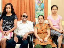 Deo Mishra, with his wife Mamta and daughters Soumya and Shruti, in Chennai.
