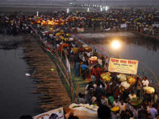 At least 14 people are feared dead in a stampede at Patna's famous Adalatganj ghat on Ganga during Chhath ceremonies today, according to TV reports.