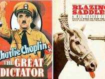 Satire includes works such as Brave New World, Animal Farm, The Great Dictator, Catch-22. Try Blazing Saddles, Spaceballs, Airplane, The Spy Who Shagged me for spoof films.
