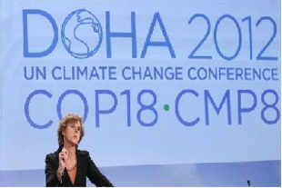 European Union's commissioner for climate change Connie Hedegaard speaks on the climate negotiations, says the EU's 27 member states will not agree to increasing the emission reduction targets in Doha.