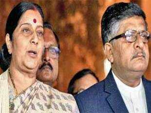 Sushma Swaraj and Ravi Shankar Prasad outside Parliament House in New Delhi on Wednesday — PTI.