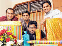 Mayank Bhangadia (left) and Avinash Saxena (right) with two other team members