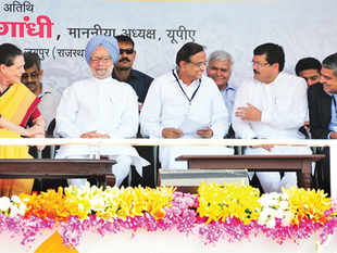 A file photo of the UPA announcing cash transfers in Dudu, Rajasthan. It is now moving with urgency to tie up loose ends for stage I: opening bank accounts, issuing Aadhaar and matching the two. And it is trying to drum up support.