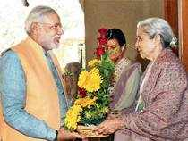 A NEW BEGINNING: Narendra Modi meets Gujarat's governor Kamla Beniwal to tender his resignation in Gandhinagar on Friday ahead of the formation of new government — PTI