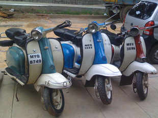 Some of the old yersteryear scooters from the private collection