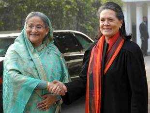 Congress President Sonia Gandhi greets Bangladesh Prime Minister Sheikh Hasina Wajed during their meeting, in New Delhi.