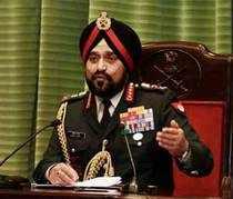 Chief of Army Staff, General Bikram Singh addressing a press conference in New Delhi.