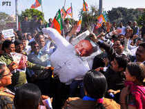 Protests against Shinde's remarks at the recent Jaipur conclave of Congress were held at various places in Punjab, Haryana and Chandigarh.