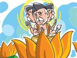 In a situation where the BJP and its parent, the RSS, do not see eye to eye on most issues, party leaders are at each others' throats, with no modernising tendencies, the selection of Rajnath Singh as president shows up the crisis in the party.