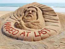 Sand sculpture of Mohammed Afzal Guru who was executed on Saturday morning.