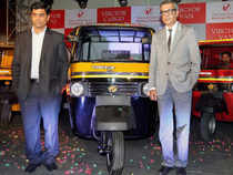 CEO of Vibgyor Vehicles, Dibakar Chakraborty(R) with the Director of Pashupati Vehicles, Nitesh Gupta(L) during the launch of their new commercial vehicle in Kolkata on Monday. (Pic: PTI)