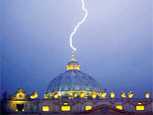 Lightning usually strikes the highest part of any structure that, in this case, is an actual lightning conductor placed on the cross at the top of the tallest dome in the world.