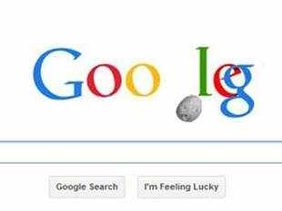 The doodle shows the second 'G' in the company's logo moving aside in a seemingly alarming manner as an asteroid passes by its spot.