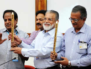 ISRO Chairman Dr K Radhakrishnan and other scientist at a press conference after the successful launch of the Polar Satellite Launch Vehicle PSLV C-21. (BCCL)
