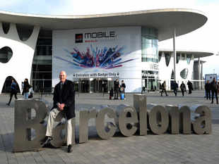 John Hoffman, Chief Executive Officer (CEO) of GSMA which operates the Mobile World Congress, poses outside the Congress venue in Barcelona on February 24, 2013. AFP