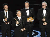 Bill Westenhofer, second from left, and the special effects team from 'Life of Pi' accept the award for best visual effects during the Oscars at the Dolby Theatre in Los Angeles