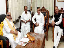 Union Ministers AK Antony, Ghulam Nabi Azad and P Chidambaram meet DMK chief M Karunanidhi at his residance in Chennai on Monday to bridge diffrences between the government and their Tamil ally DMK, over the issue of voting on Sri-Lanka in UN.