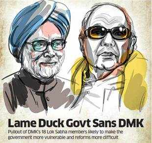 DMK's decision to withdraw support to the UPA may not impact the stability at the Centre in the immediate run, but there is admission in the government