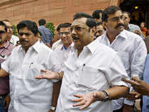 Eyebrows were raised as Alagiri and D Napoleon did not go along with other three ministers S S Palanimanickam.