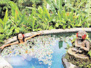 Relax in an outdoor spa and pool in Indonesia
