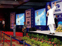 RAHUL'S VOCALS MUSIC FOR INDIA INC: Congress vice-president and heir apparent Rahul Gandhi speaking at the CII Annual General Body Meeting in New Delhi