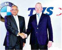 TVS Motor Company Chairman Venu Srinivasan (left) and BMW Motorrad President Stephan Schaller at a press conference in Chennai on Monday to announce their partnership