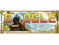 Google doodle shows a locomotive train which replaces the first 'O' of the word Google.