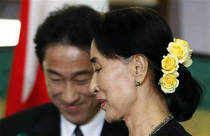 Myanmar opposition leader Aung San Suu Kyi today called for Japanese investment and economic aid that would create jobs in the Southeast Asian economy, news reports said.