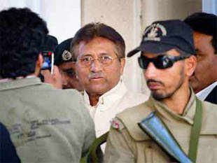 Pervez Musharraf leaves after appearing in court in Rawalpindi, Pakistan on Wednesday, April 17, 2013. (AP)