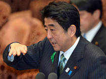 """Shinzo Abe will showcase his plans in a major press address as his controversial big-spending, easy-money policies - dubbed """"Abenomics"""" have fuelled optimism"""
