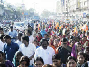 The activists of BJP's Mahila Morcha marched from party headquarters on Ashoka Road to Gandhi's 10-Janpath residence.