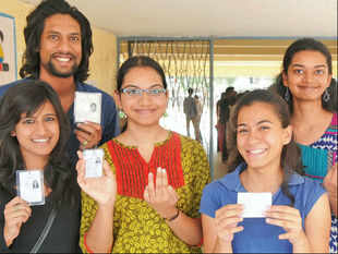 First time voters in Bangalore on Sunday.