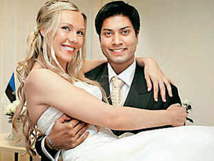 A part-time model, he was most recently the head of services practice for Asia-Pacific at executive search firm Egon Zehnder.  In pic: Mittu Chandilya with wife Inga Teor at their wedding party.