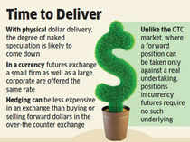 The Reserve Bank of India and exchanges are exploring the possibility of actual delivery of dollars in bourses where currency futures are traded.