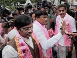 Telangana Rashtriya Samiti (TRS) leaders talking to media while being detained by the police during TJAC's 'Chalo Assembly' protest in Hyderabad.