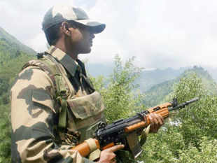 Pakistan Army troops opened fire with automatic weapons on forward posts in Poonch today at around 1205hrs, defence spokesman Col RK Palta said.  Border security Force (BSF) soldiers patrol near Line of Control (LOC) at Sabzian Sector of Poonch on Sunday.