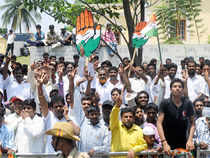 Congress candidates surged ahead of JDS rivals maintaining good leads in the bypolls for the Mandya and Bangalore rural Lok Sabha seats.